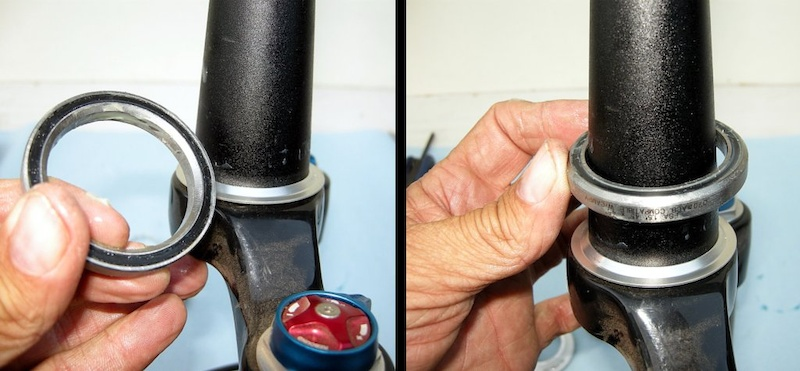 Photo 8 - The inner diameter of the lower race is tapered in one side to mate with the fork s crown race fitting. Make sure that the taper faces down and slide the lower bearing onto the fork s steerer tube.
